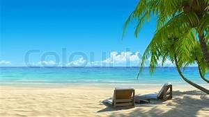 Two beach chairs on idyllic tropical white sand beach ...