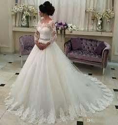 vintage lace sleeve wedding dress 2017 new sleeve a line wedding dresses illusion tulle appliques lace vintage