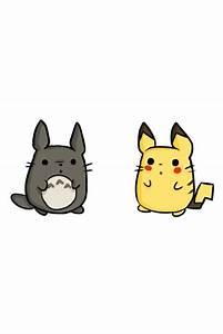 pikachu & totoro bein cute ♡   We Heart It   cute ...