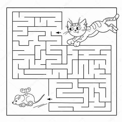 Cartoon Maze Labyrinth Illustration Children Puzzle Coloring