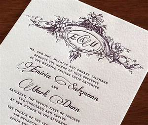 new wedding invitation design emiria letterpress With monogram for wedding invitations etiquette