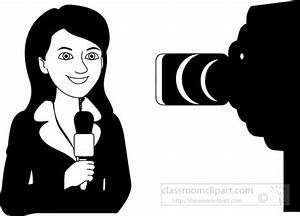 Occupations Clipart- black-white-reporter-lady-in-front-of ...
