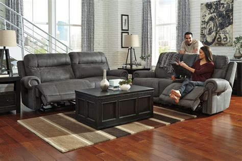 austere reclining living room set gray