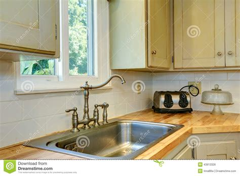 kitchen cabinets top view kitchen cabinet with sink view of faucet stock photo
