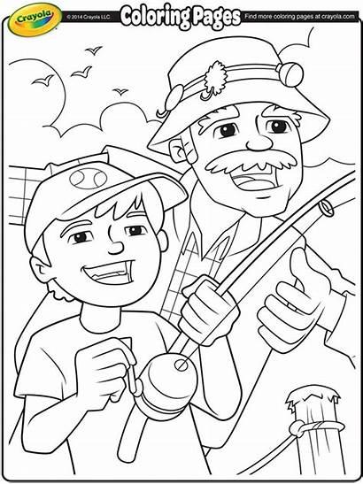 Coloring Pages Grandparents Grandpa Fishing Crayola Own