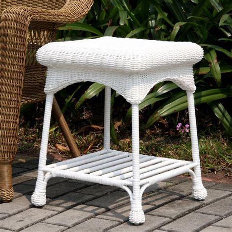 jeco outdoor wicker patio furniture end table patio