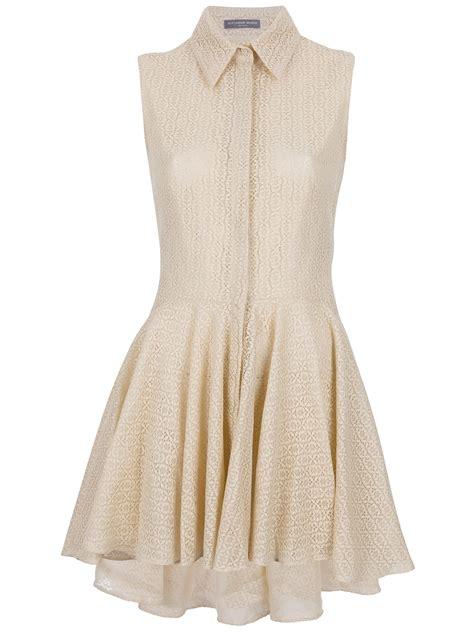 dressy blouse mcqueen lace dress in beige lyst
