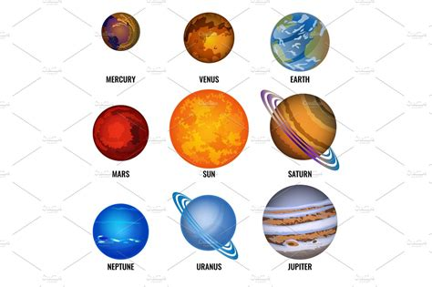 Set Of Solar System Planets With Text Cartoon Vector