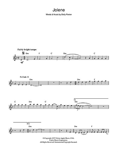 jolene sheet   dolly parton flute