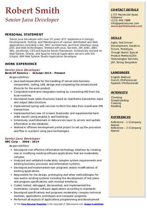 senior java developer resume sles qwikresume