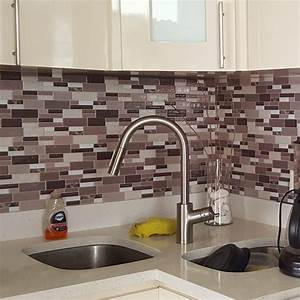 Peel stick kitchen backsplash wall tiles 12in x 12in for Stick on tiles for bathroom