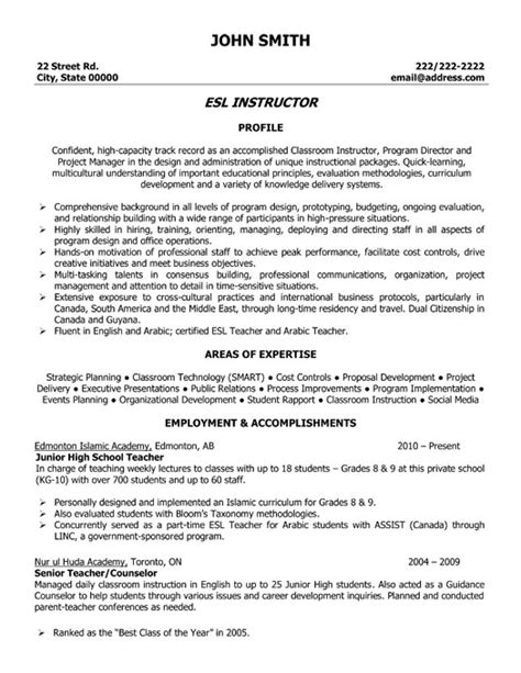 esl instructor resume template premium resume sles