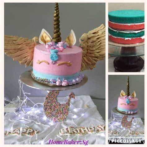 gravity defying  unicorn cake homebakerzsg