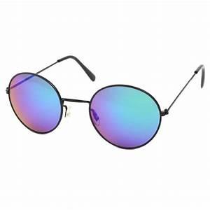 Lunette Soleil Ronde Homme : achat lunettes de soleil rondes noir et bleu john ~ Nature-et-papiers.com Idées de Décoration