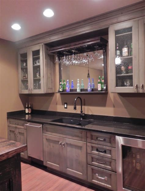 Basement Bar Cabinets basement bar has wine cooler granite counters and