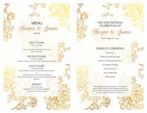 diy wedding program templates free gold floral vow renewal invitation