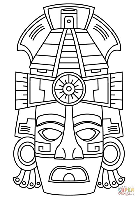aztec mask template mayan mask coloring page free printable coloring pages