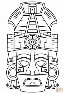 mayan face mask coloring page free printable coloring pages With aztec mask template