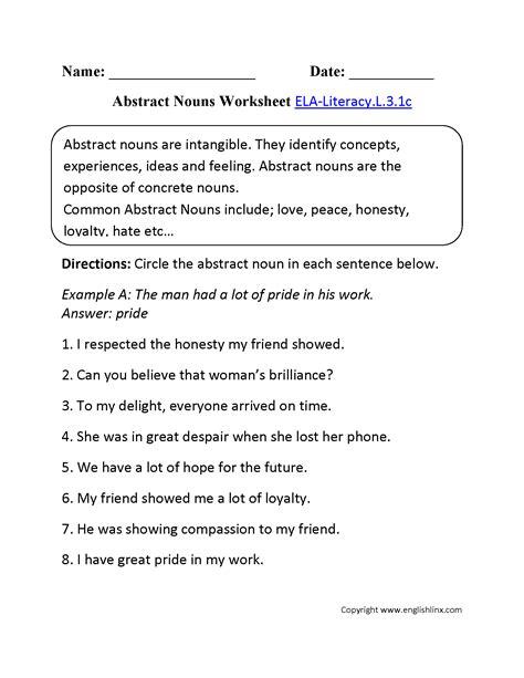 abstract nouns worksheet 1 ela literacy l 3 1c language