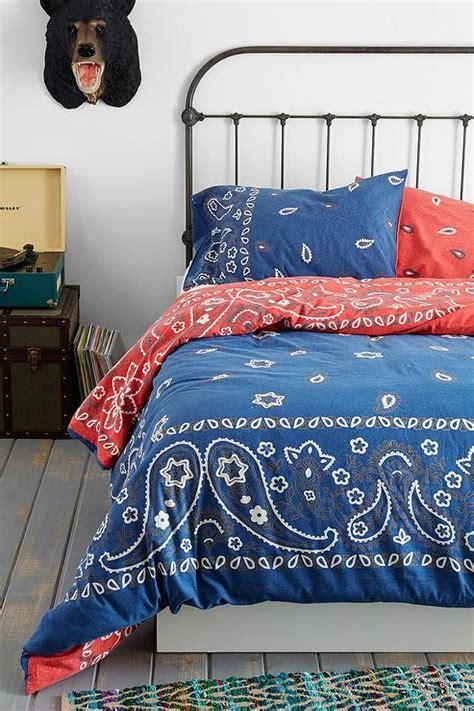 bandana blue  red reversible duvet cover