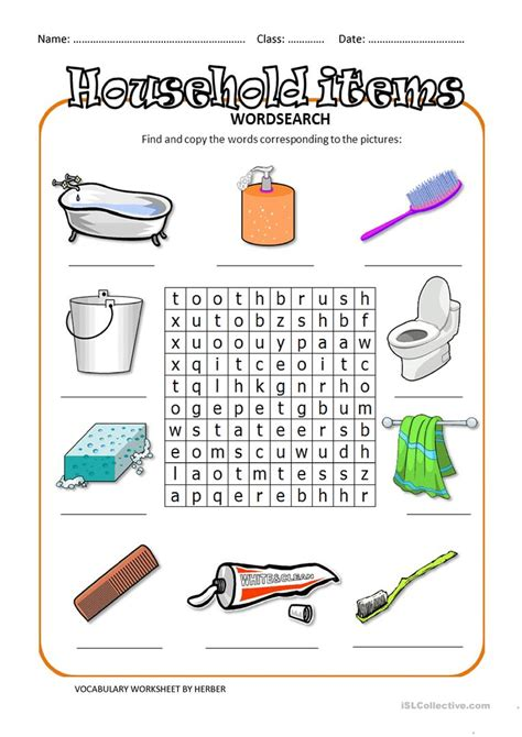 household items ws worksheet  esl printable