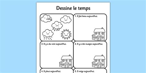 draw the weather worksheet french france nature