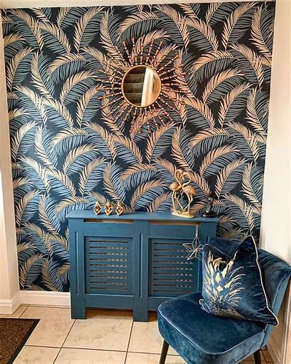 Navy Leaf Vivienne Feature Hallway Ilovewallpaper Walls