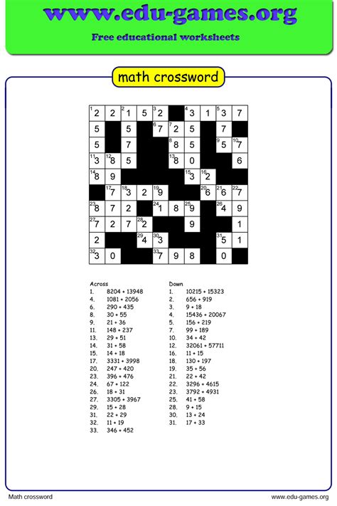 math crossword puzzle maker  printable worksheets