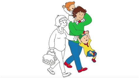 caillou coloring page  caillou   family