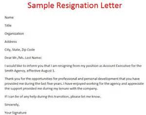 sample of resignation letter