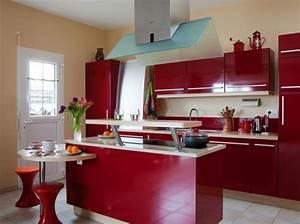 Deco cuisine rouge et beige for Charming couleur pour salon moderne 7 cuisine rouge bordeaux but