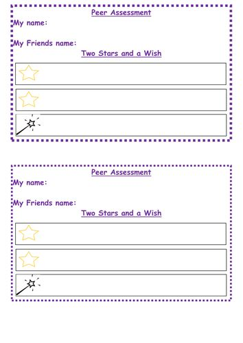 peer assessment sheet ks   richbreeds teaching resources