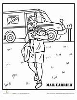Coloring Mail Carrier Pages Community Worksheets Helpers Worksheet Sheets Preschool Theme Grade Second Career Learning Education sketch template