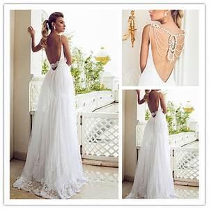 Backless beach wedding dress with spaghetti strapscherry for Beach wedding party dresses