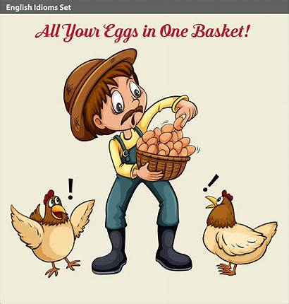 Idiom English Farmer Eggs Idioms Holding Poster