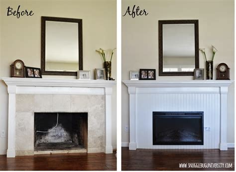 Beadboard Fireplace Surround :  Beadboard Fireplace Makeover