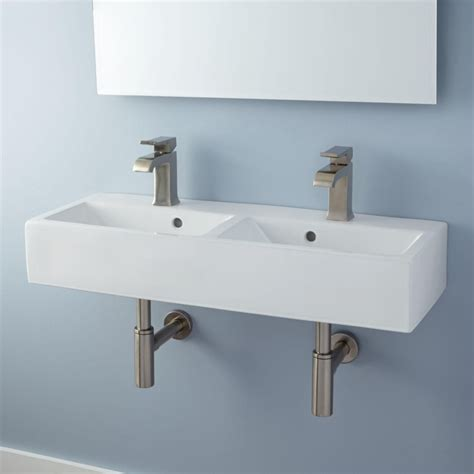 Rectangular Small Wall Mounted Bathroom Sink With Double