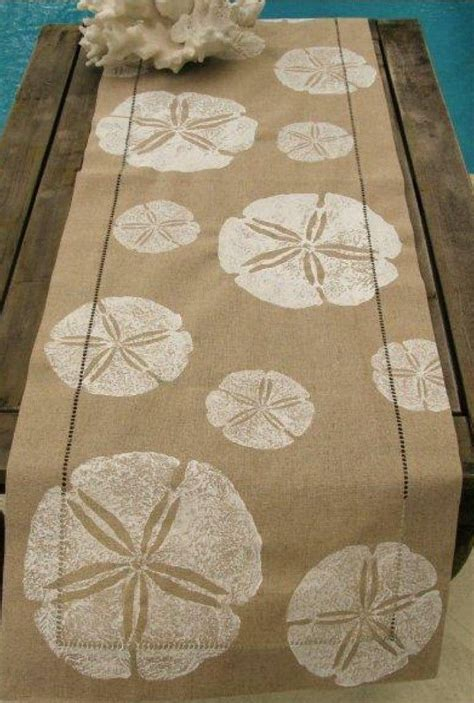 natural linen table runner  white sand dollars beach