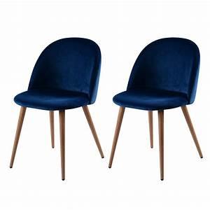 Chaise Velours Design : chaise cozy en velours bleu lot de 2 commandez les chaises cozy en velours bleu lot de 2 ~ Teatrodelosmanantiales.com Idées de Décoration