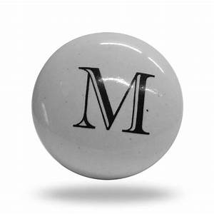 ceramic letter m door knob classic black and white alphabet With letter door knobs