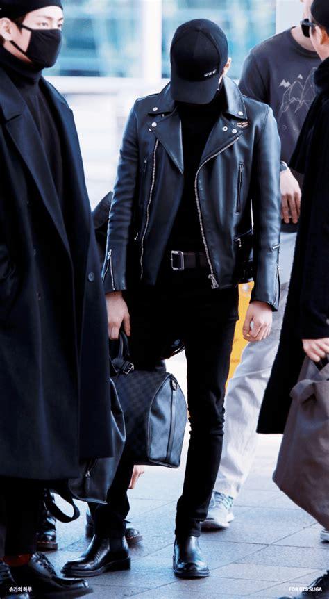 BTS Sugau0026#39;s Black Airport Fashion Looks - Kpop Korean Hair and Style