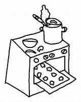Oven Coloring Pages Cookies Baking Kitchen Stove Drawing Template Sketch Getdrawings Clipartmag Place sketch template