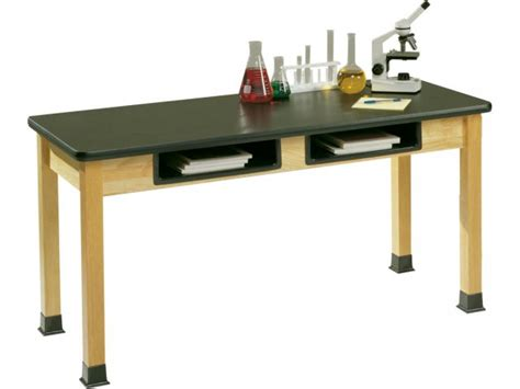 Science Lab Table W/ Epoxy Resin Top, Book Boxes 48x24x30