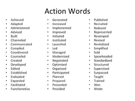 Active Words For Resume Writing by List Words Resume Writing