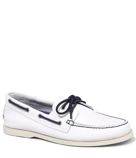 White Boat Shoes by Express Leather Boat Shoe In White For Men Pure White Lyst
