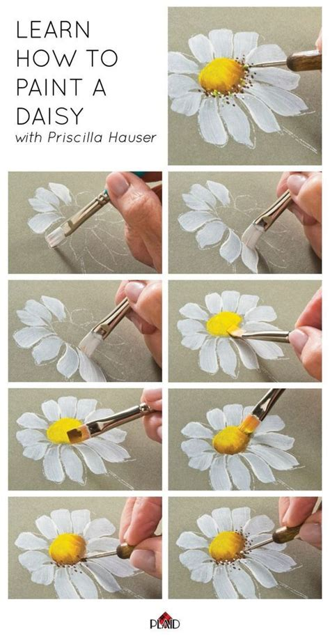 cool way to teach about the spine make learn how to paint a daisy with priscilla hauser super easy step by steps plaidcrafts diy