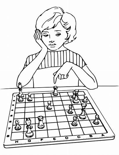 Chess Coloring Playing Board Ajedrez Drawing Pages