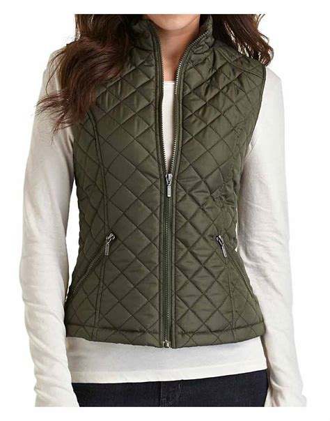 womens quilted vest zipper closure womens green quilted vest ujackets