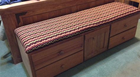 Bed Bench With Storage by Cushioned Bench Repurposed From An Captains Bed