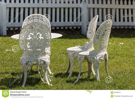 white outdoor wrought iron patio furniture white wrought iron garden furniture stock photo image